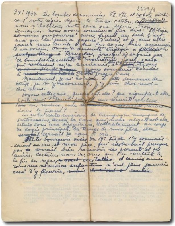 Marie Gevers Journal d'une cave 1944